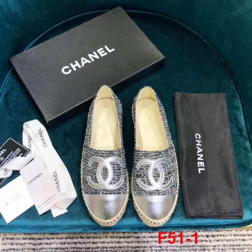 F51-1 Chanel giày lười đế cói siêu cấp