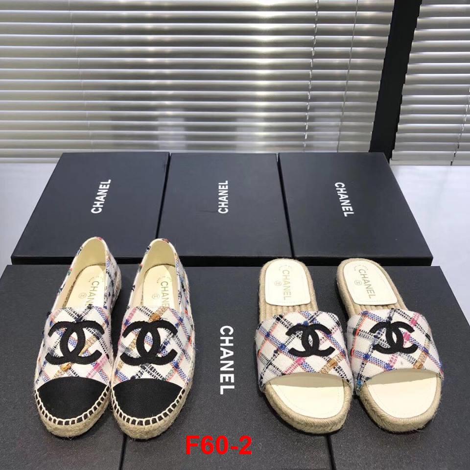 F60-2 Chanel giày lười đế cói bệt siêu cấp