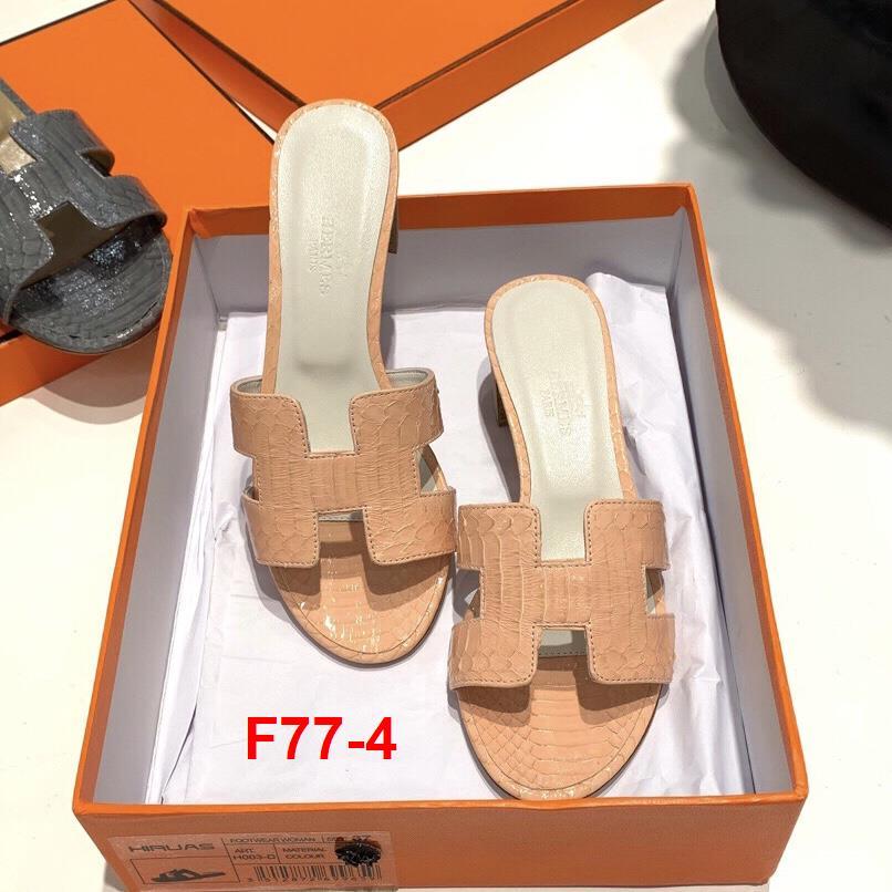 F77-4 Hermes dép cao 5cm vân da rắn siêu cấp