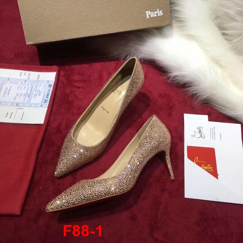 F88-1 Louboutin giày cao 6cm đính đá siêu cấp