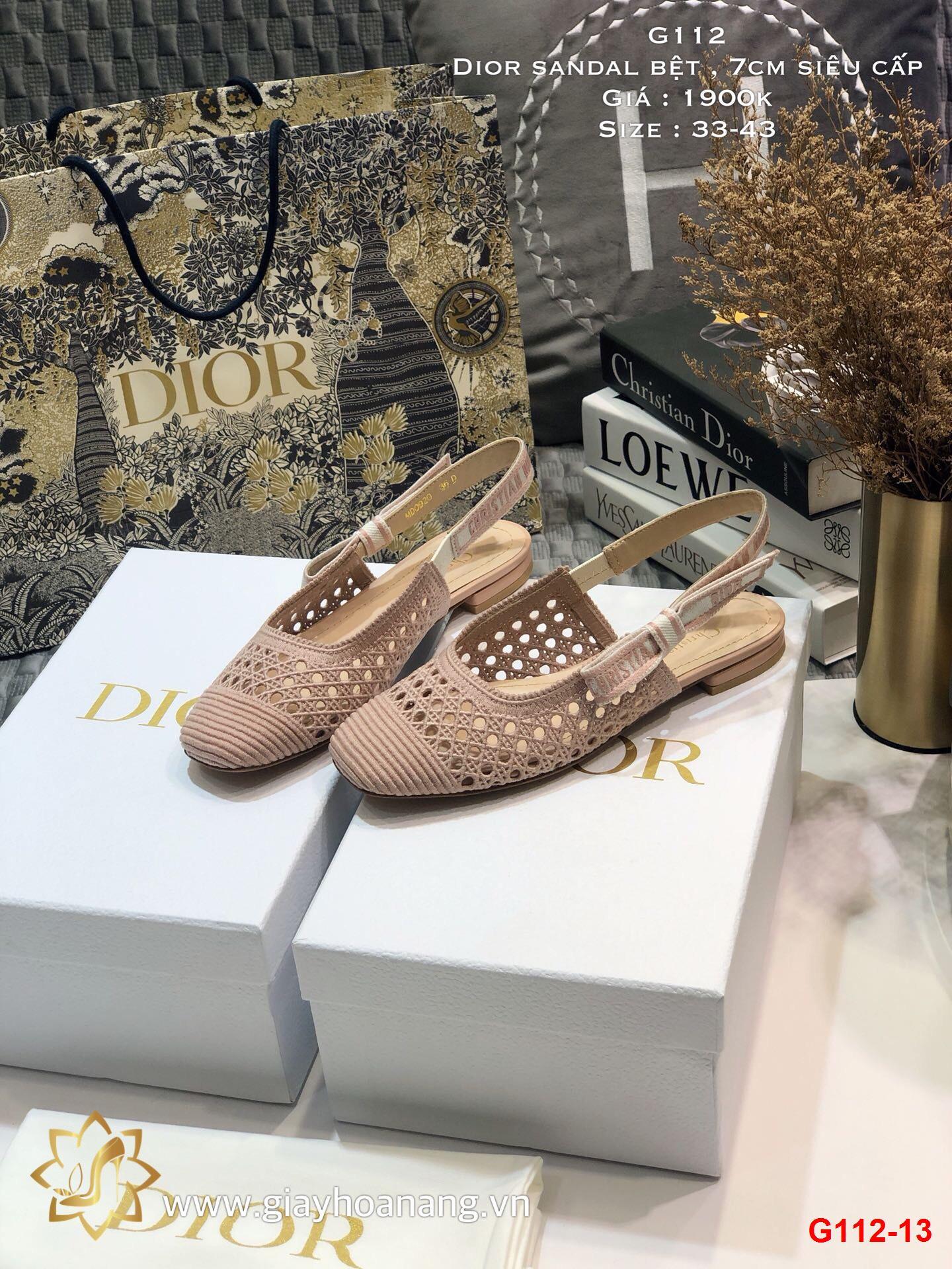 G112-13 Dior sandal bệt , 7cm siêu cấp