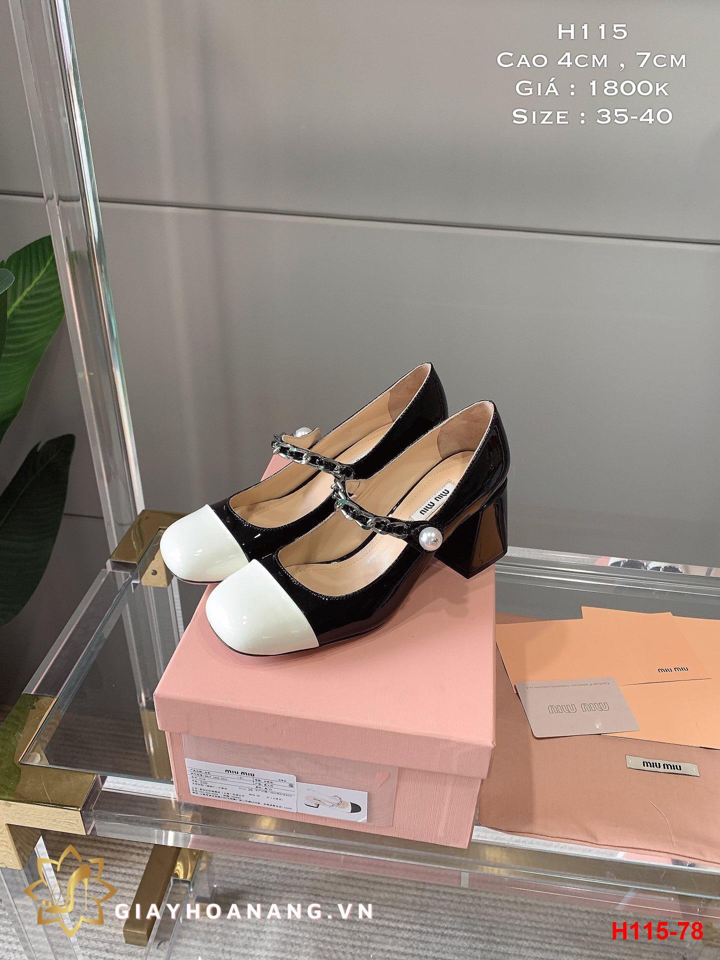 H115-78 Miu Miu giày cao 4cm , 7cm siêu cấp