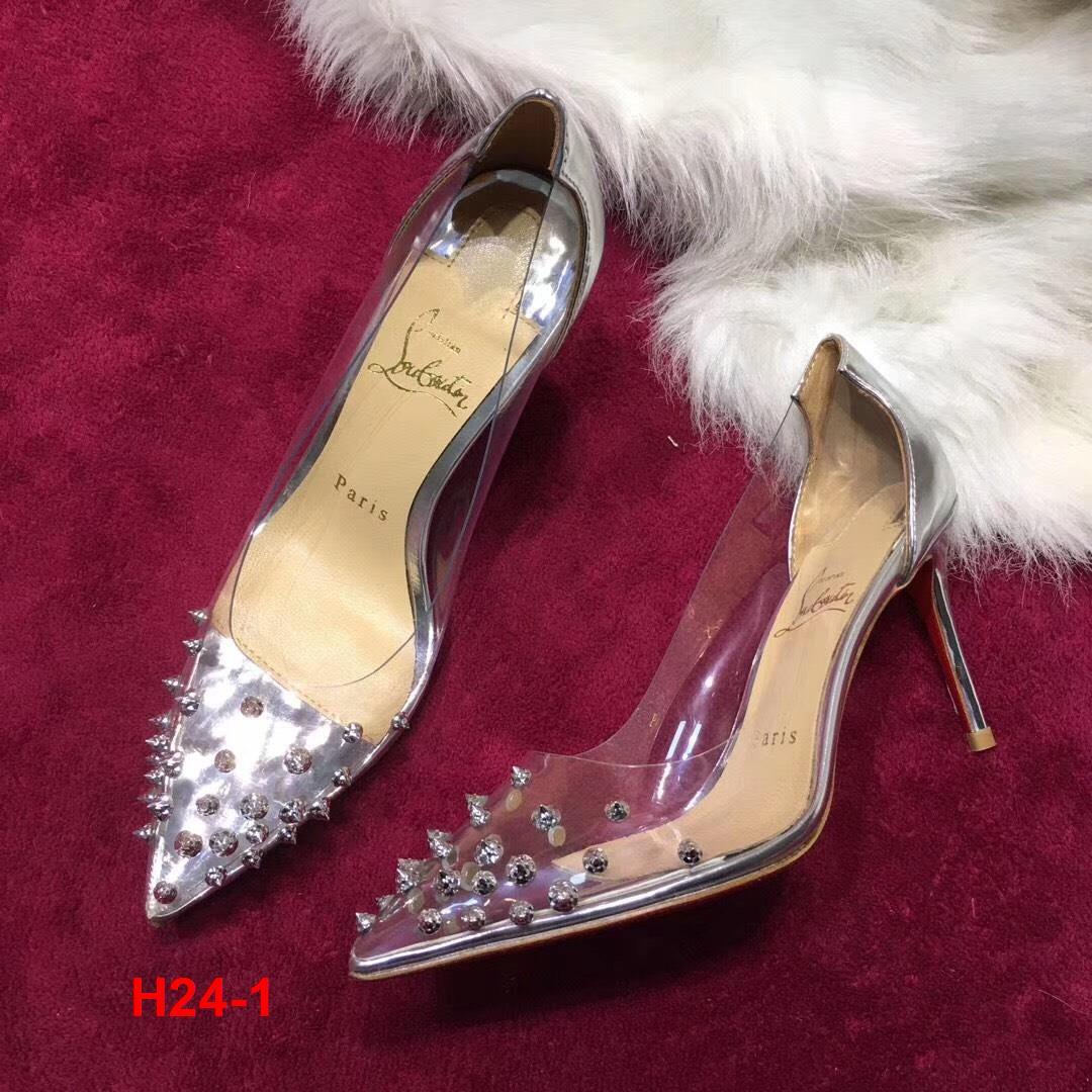 H24-1 Louboutin giày cao 10cm đinh tán siêu cấp