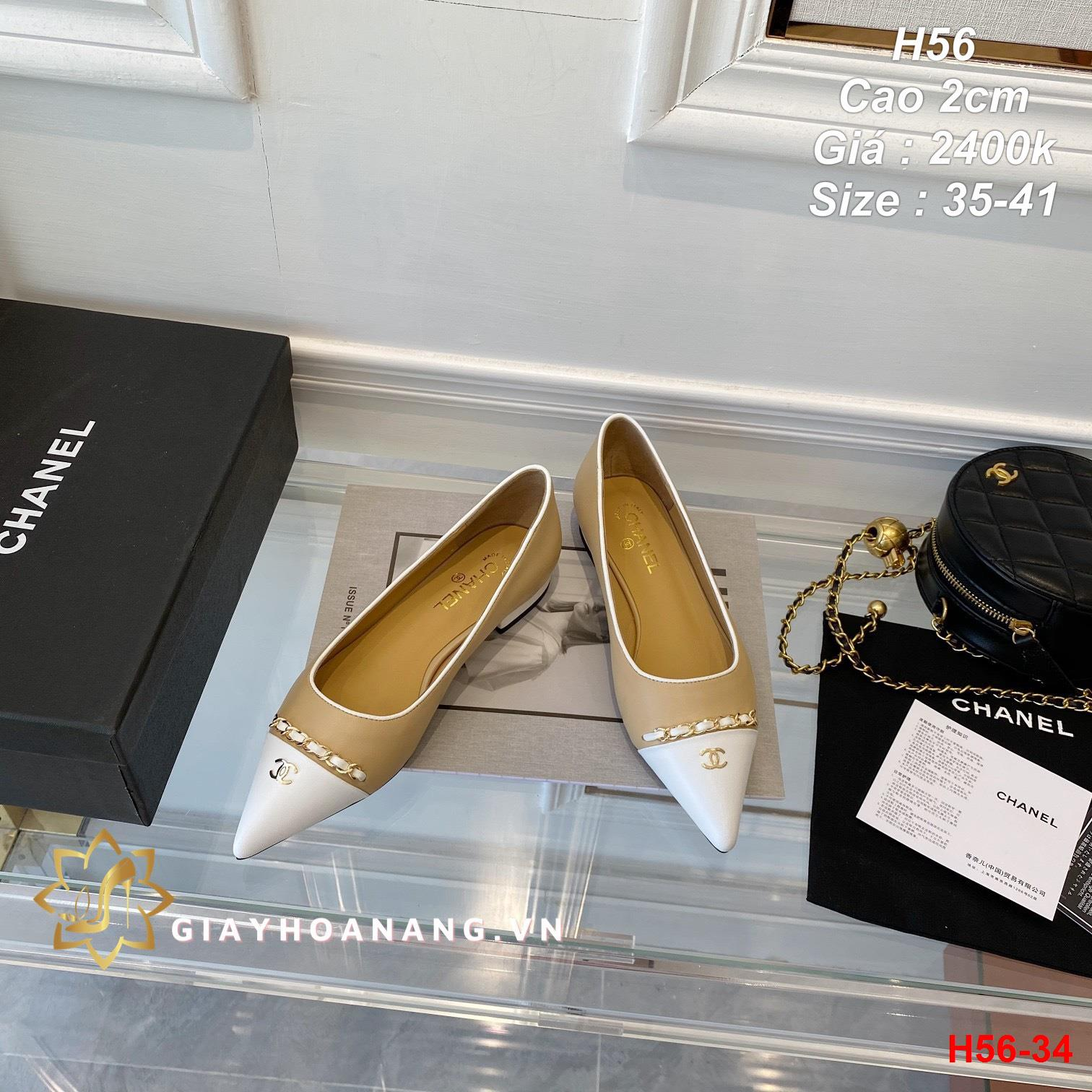 H56-34 Chanel giày cao 2cm siêu cấp