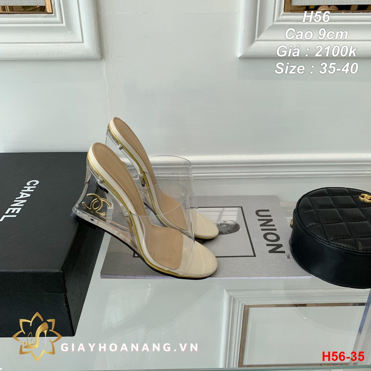 H56-35 Chanel dép cao 9cm siêu cấp