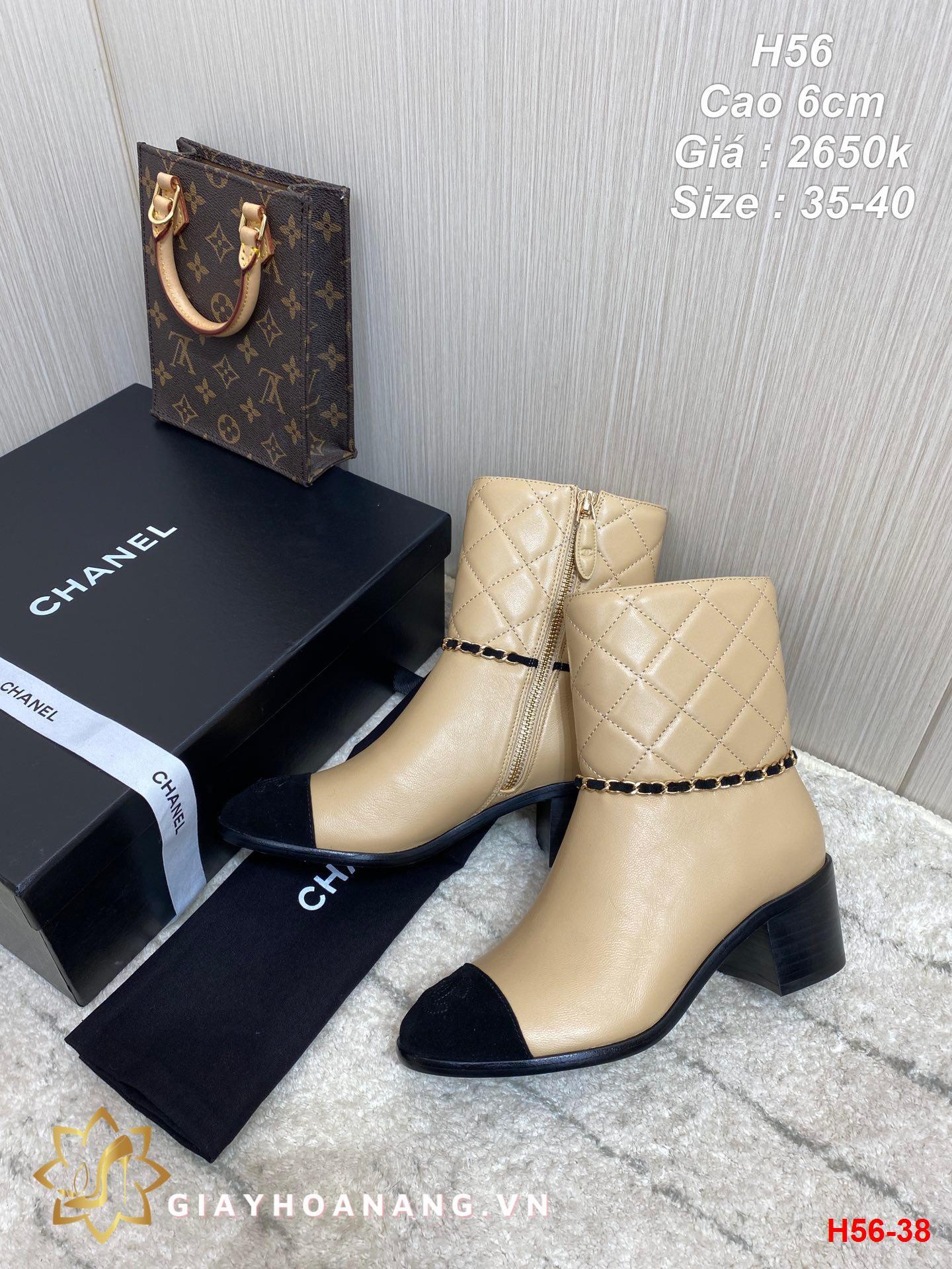 H56-38 Chanel bốt cao 6cm siêu cấp