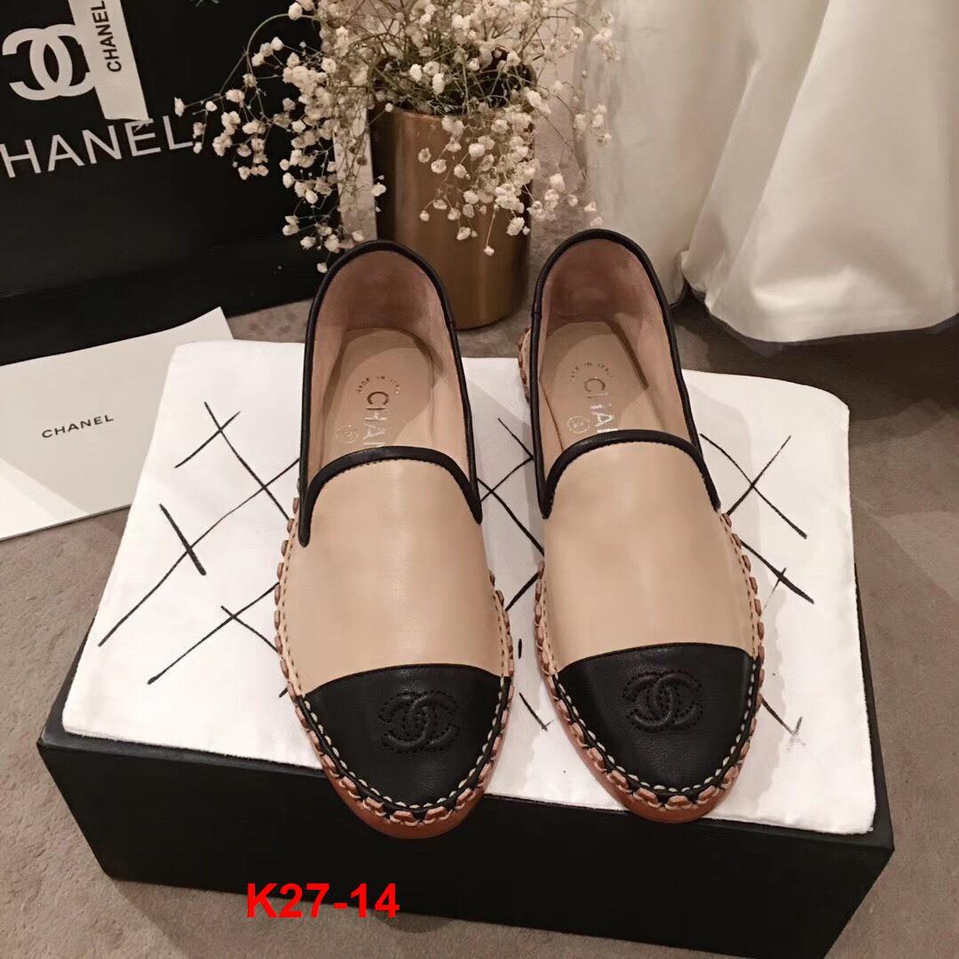 K27-14 Chanel giày lười đế cói siêu cấp