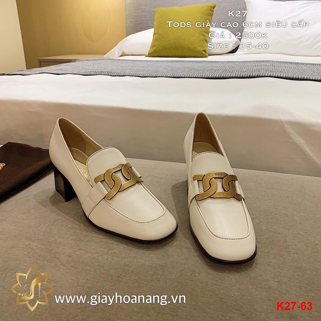 K27-63 Tods giày cao 6cm siêu cấp