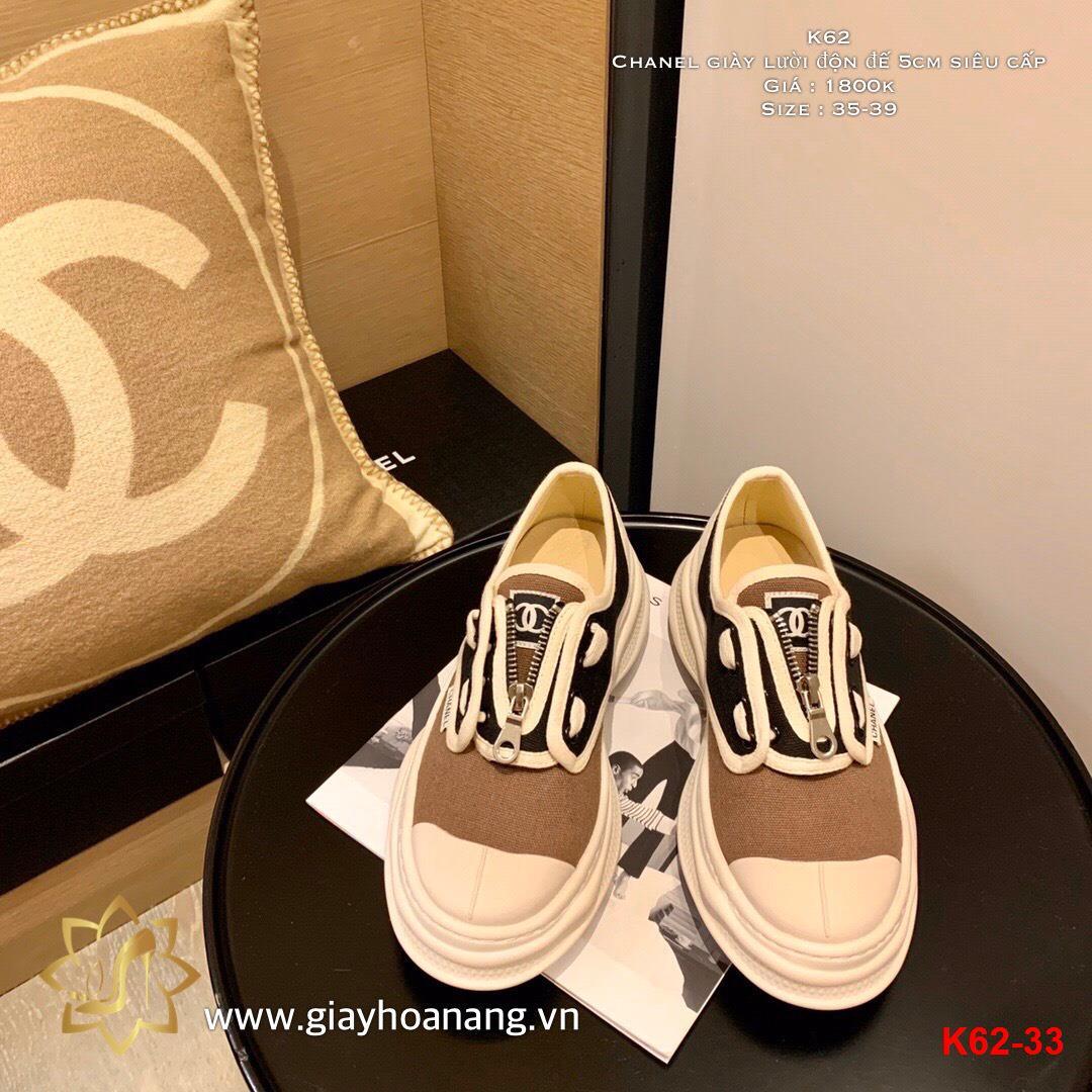 K62-33 Chanel giày lười độn đế 5cm siêu cấp
