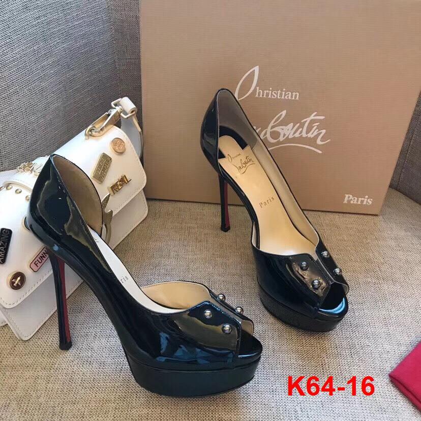 K64-16 Louboutin giày cao 12cm đế kếp 4cm siêu cấp