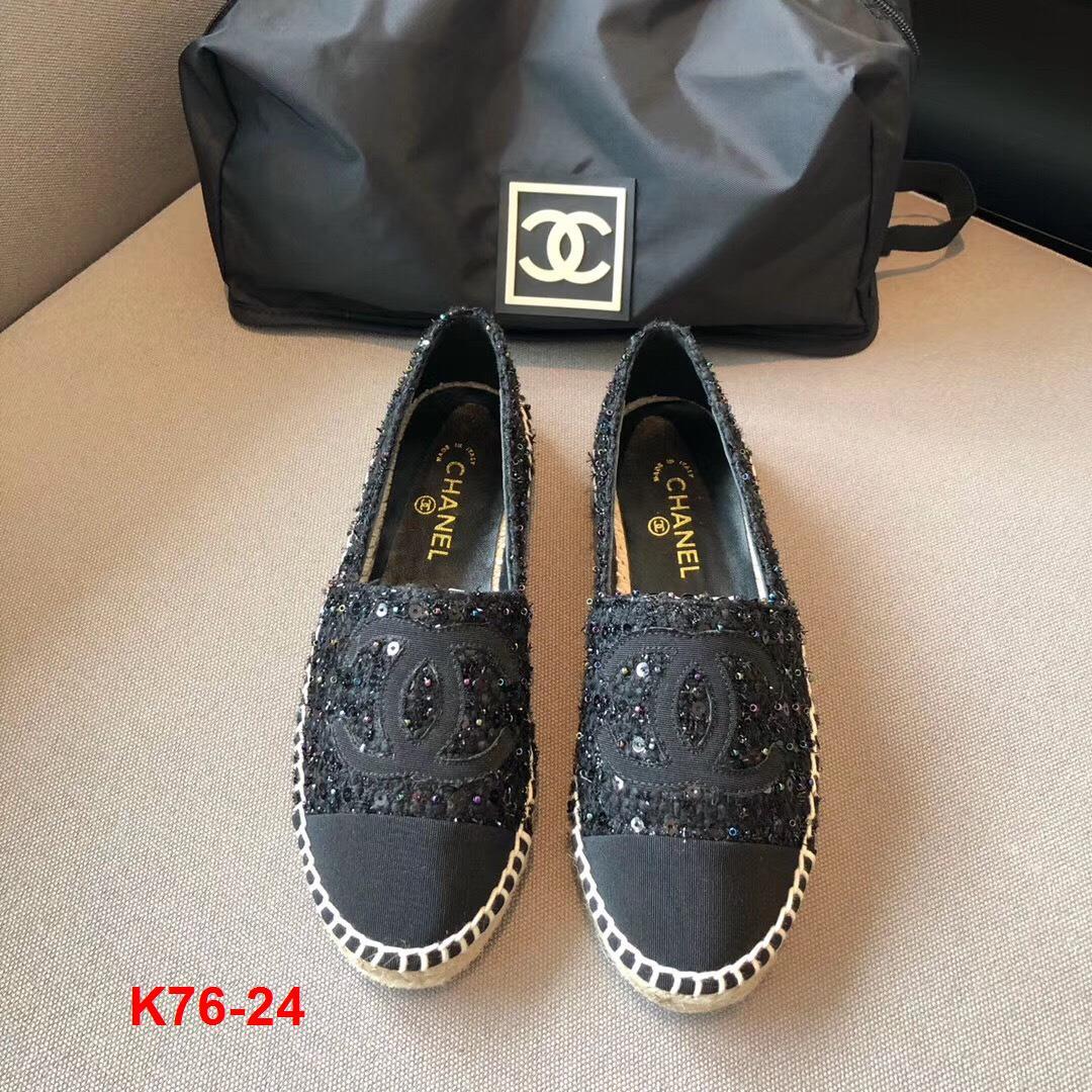 K76-24 Chanel giày lười đế cói siêu cấp