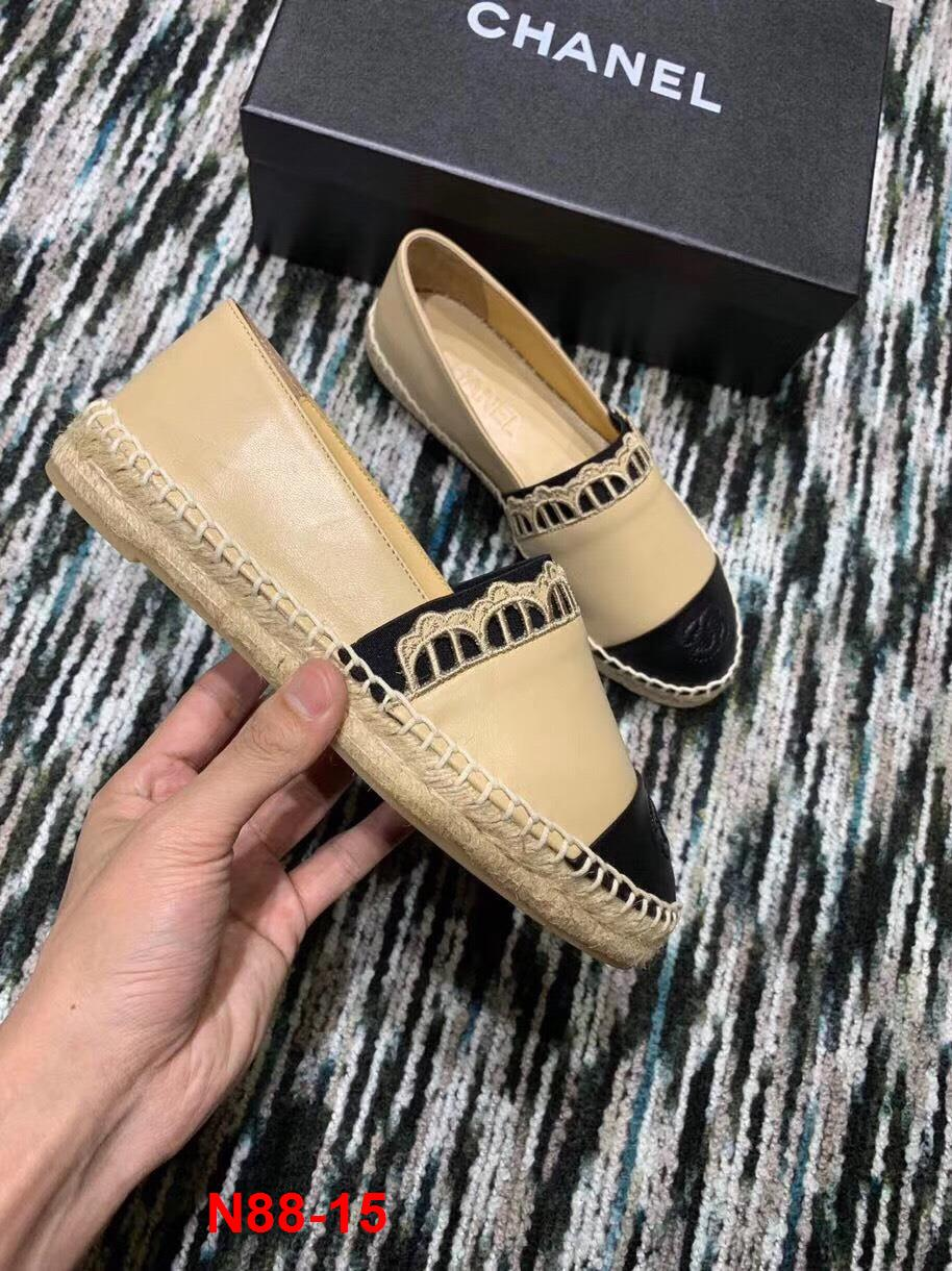 N88-15 Chanel giày lười đế cói siêu cấp
