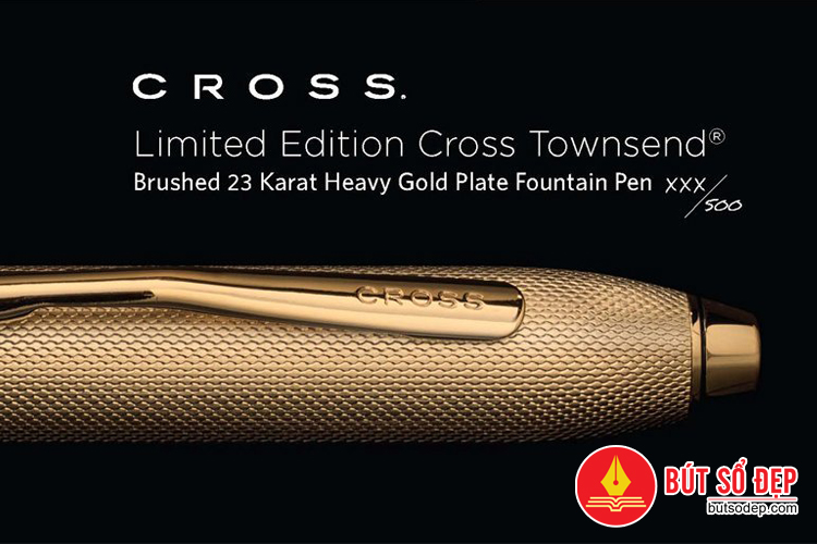 Nắp bút máy cao cấp Cross Townsend Brushed 23KT Heavy Gold Plate
