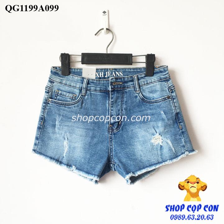 Quần short jean lai tua màu nhạt (37-54kg)