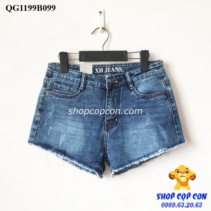 Quần short jean lai tua màu đậm (37-54kg)