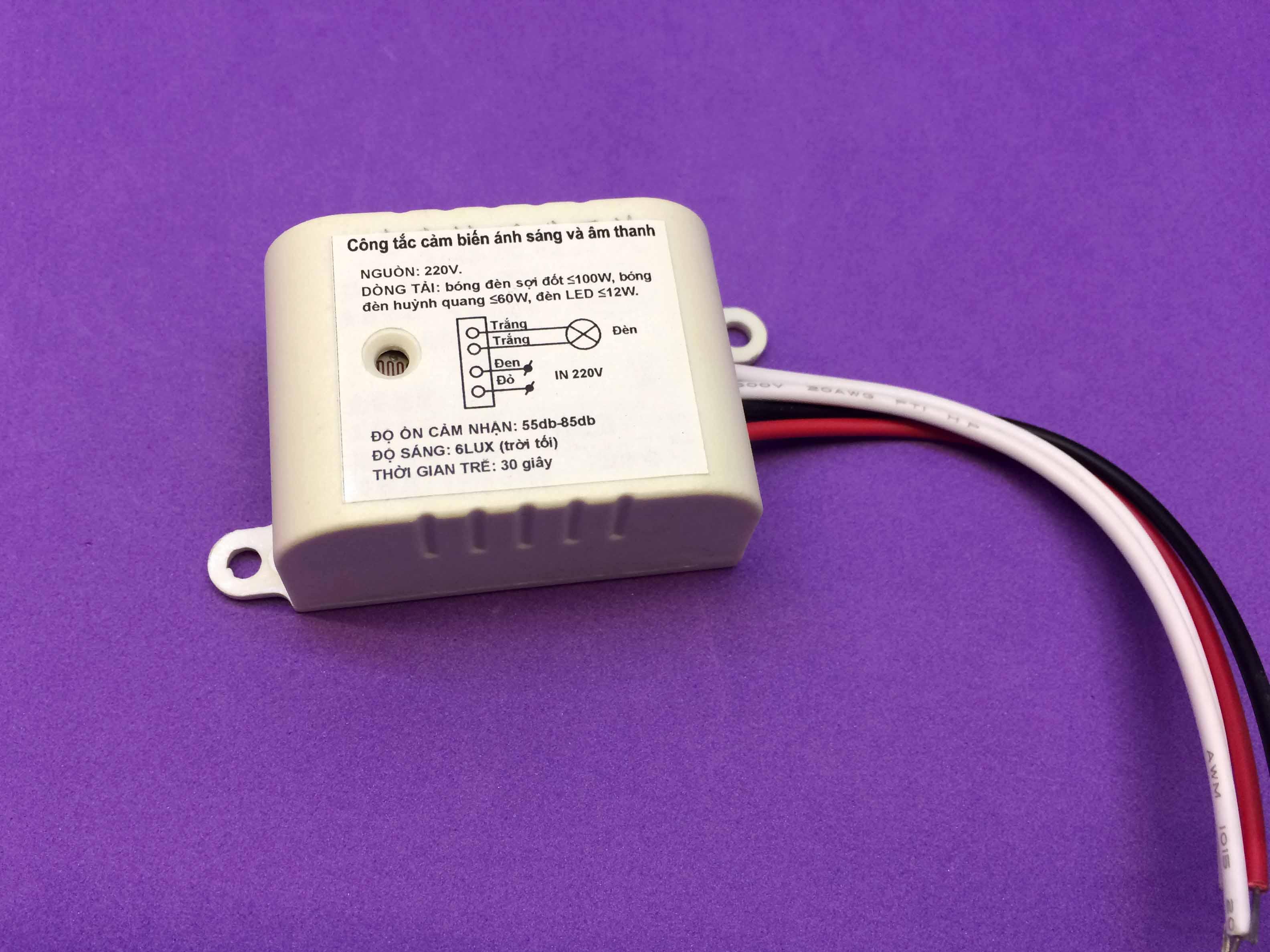 Bật tắt đèn bằng cảm biến ánh sáng và âm thanh 220V