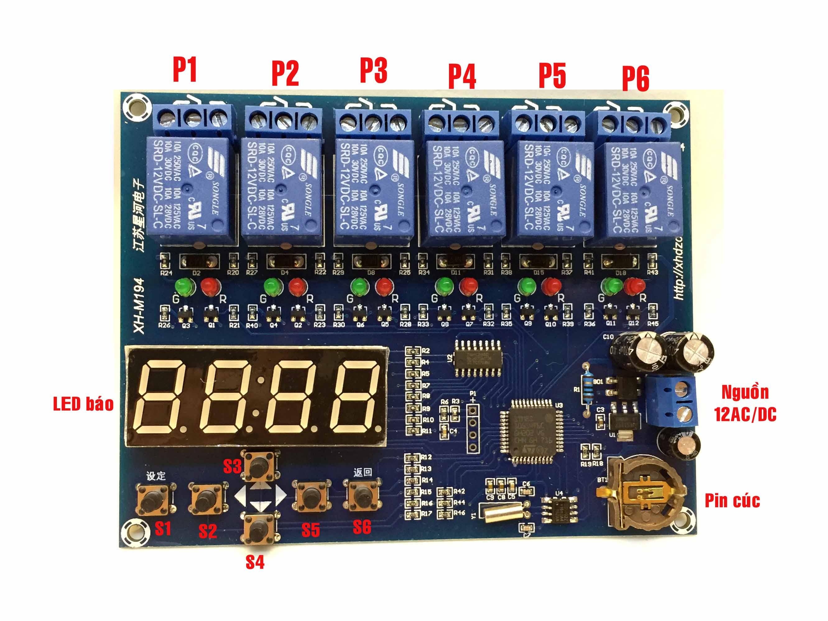 Hẹn giờ đóng mở 6 relay theo thời gian thực XH-M194
