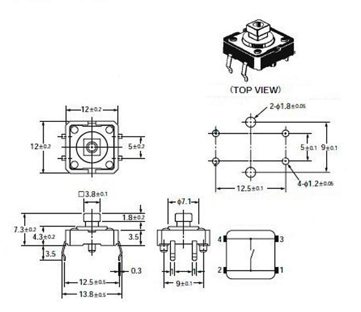 Nút nhấn vuông 12x12x7,3mm B3F-4055