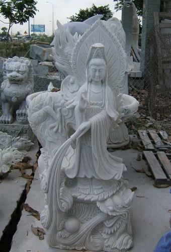 Tượng đá quan âm 05,tượng quan âm cưỡi rồng