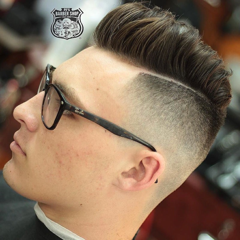 Kiểu Tóc Nam Đẹp Medium Length Pompadour + Hard Part undercut