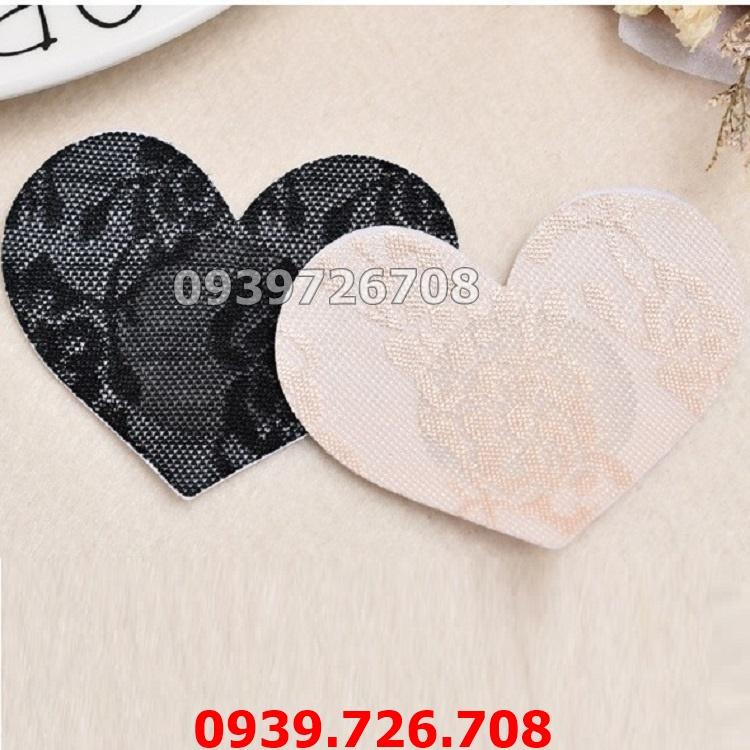 Combo 10 miếng dán ti lụa hình trái tim che nhũ hoa ngực dùng 1 lần (5 cặp)