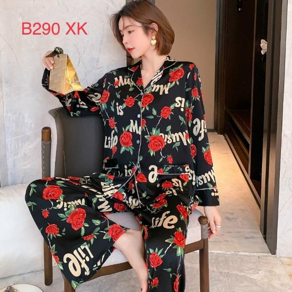 Đồ bộ mặc nhà cao cấp-Bộ ngủ pijama quần dài tay dài họa tiết hoa hồng chất lụa mịn mát