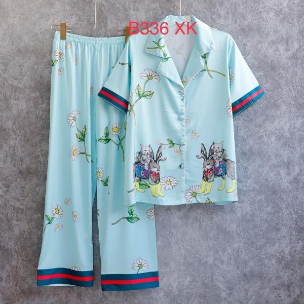 Bộ ngủ pijama lụa cao cấp quần dài tay ngắn chạy viền nỗi