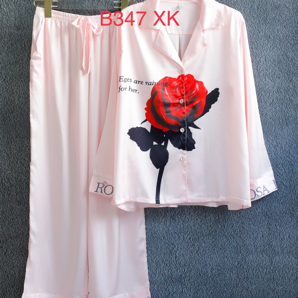 Bộ ngủ pijama lụa cao cấp quần dài tay dài hoa hồng