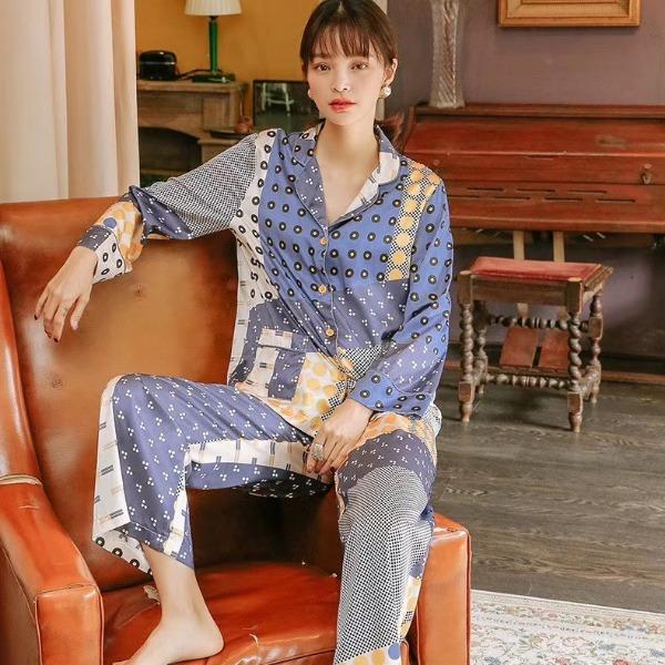 Bộ ngủ pijama lụa cao cấp quần dài tay dài họa tiết phối túi 2 bên