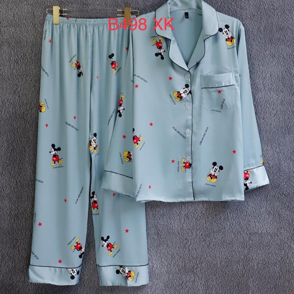 Bộ ngủ pijama lụa cao cấp quần dài tay dài chuộtmickey có túi áo