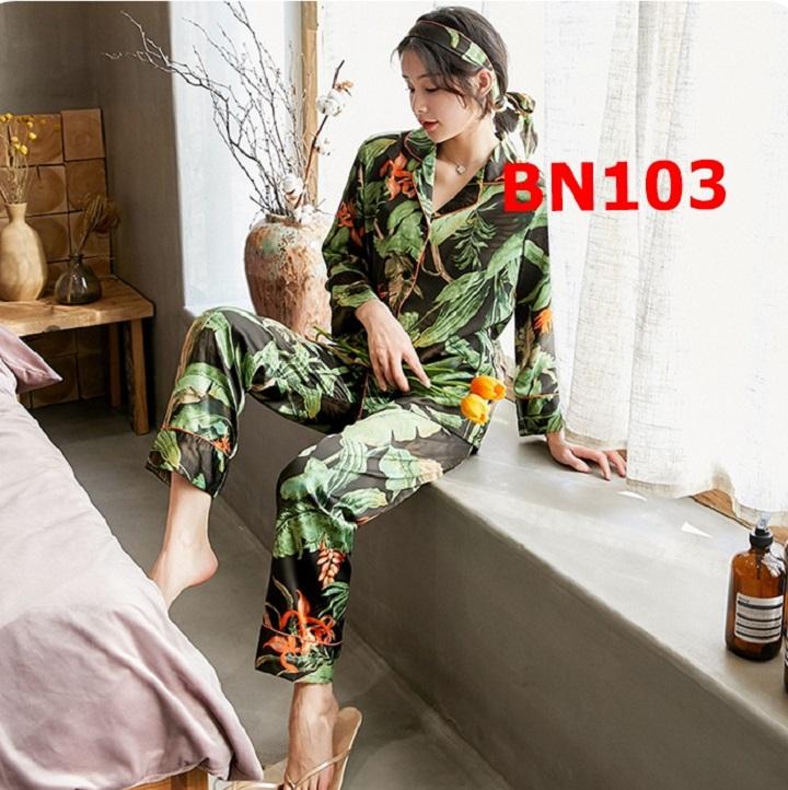 Bộ ngủ nữ Pijama quần dài tay dài sang trọng quý phái hàng cao cấp, có kèm băng đô