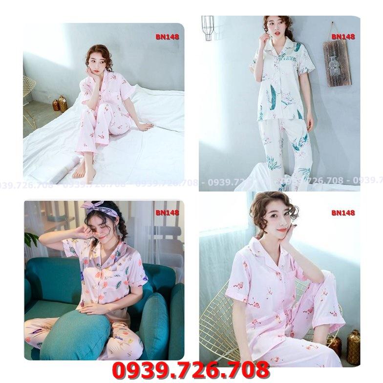 Bộ ngủ pijama lụa quần dài tay ngắn chất lụa cao cấp mịn mát hàng đẹp chuẩn