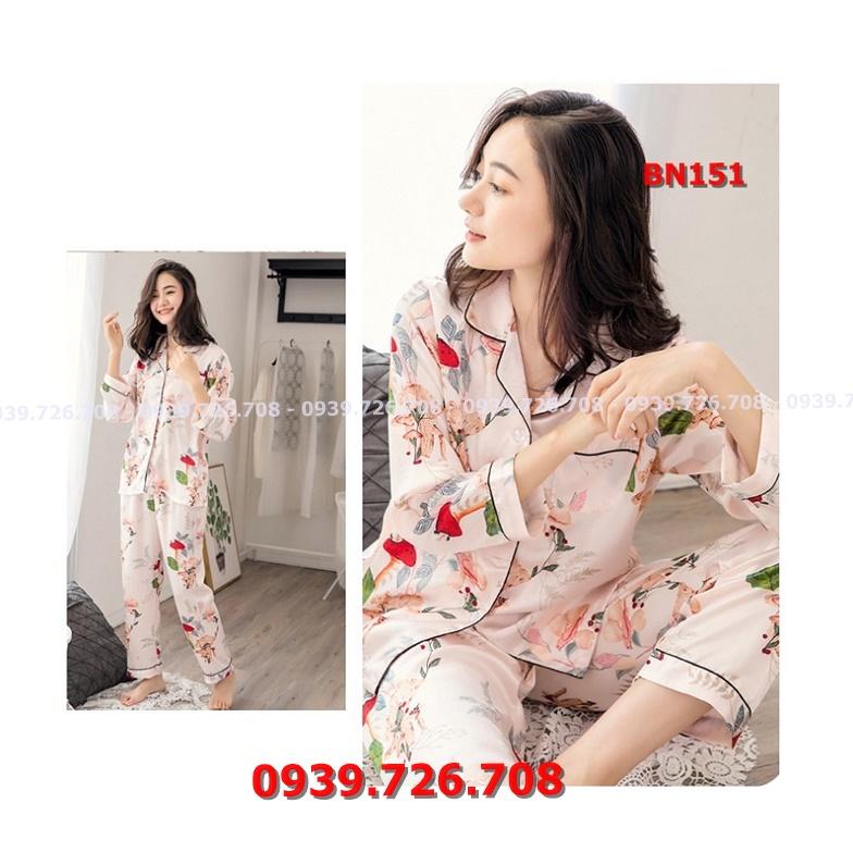 Bộ ngủ pijama quần dài tay dài họa tiết hoa chất lụa đẹp