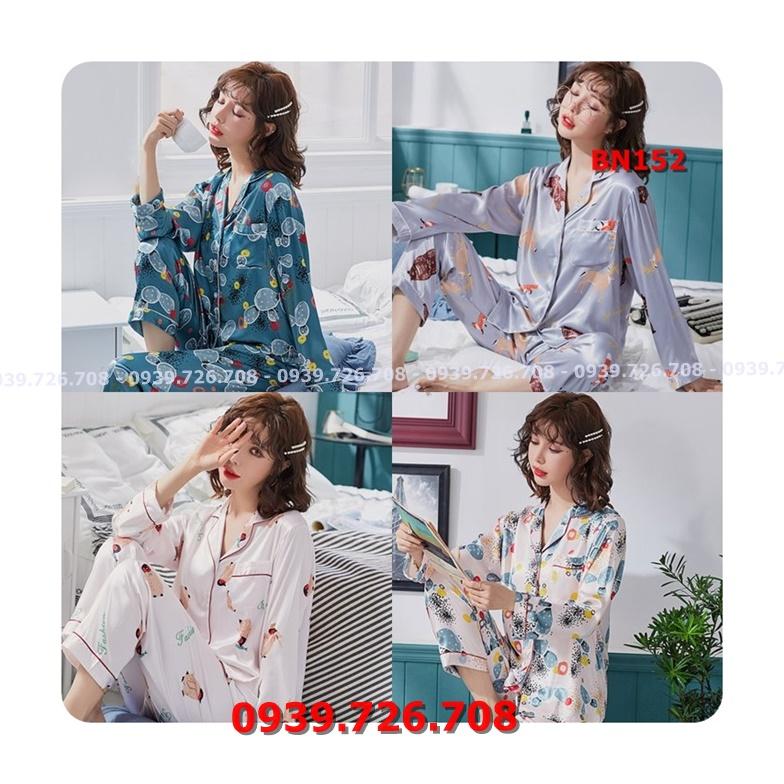 Bộ ngủ nữ Pijama quần dài tay dài chất lụa đẹp mịn mát hàng cao cấp