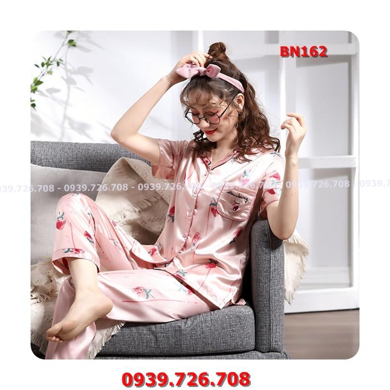 Bộ ngủ pijama quần dài tay ngắn chất lụa đẹp