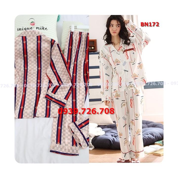 Bộ ngủ lụa satin pijama quần dài tay dài hàng cao cấp chất rất đẹp