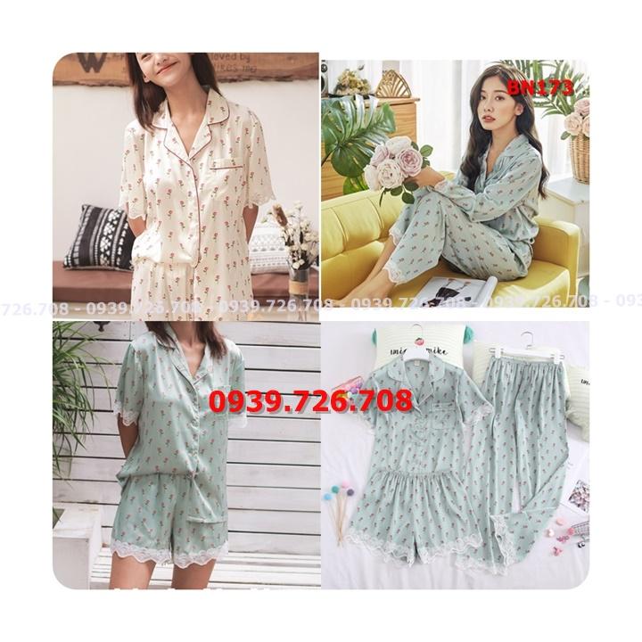 Bộ ngủ lụa pijama combo 3 món quần đùi quần dài phối tay ngắn viền ren chất đẹp