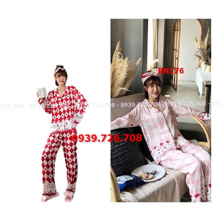 Bộ ngủ lụa satin pijama quần dài hoạt tiết cơ chuồn có túi quần hàng cao cấp