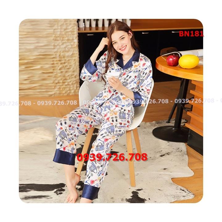 Bộ ngủ pijama lụa họa tiết hàng đẹp