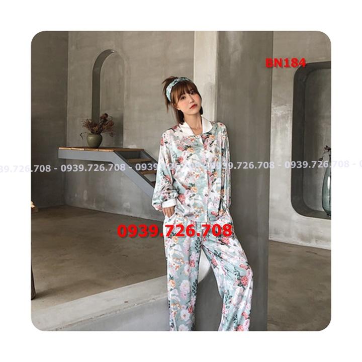 Bộ ngủ pijama lụa satin hoa quần dài tay dài hàng cao cấp chuẩn đẹp