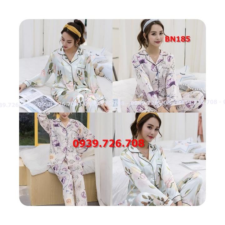 Bộ ngủ pijama lụa quần dài tay dài hàng đẹp
