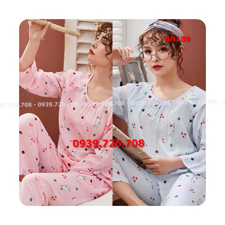 Bộ ngủ pijama cotton cổ nhúm tay dài chất mịn mát