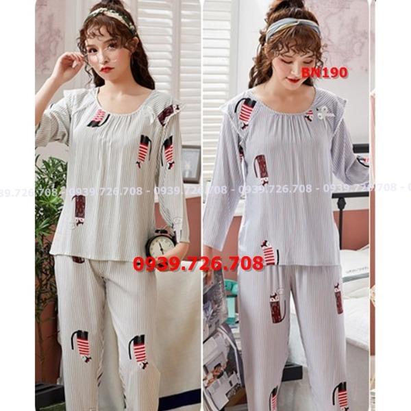 Bộ ngủ pijama cotton lụa cổ nhúm chất mịn mát quần dài tay dài