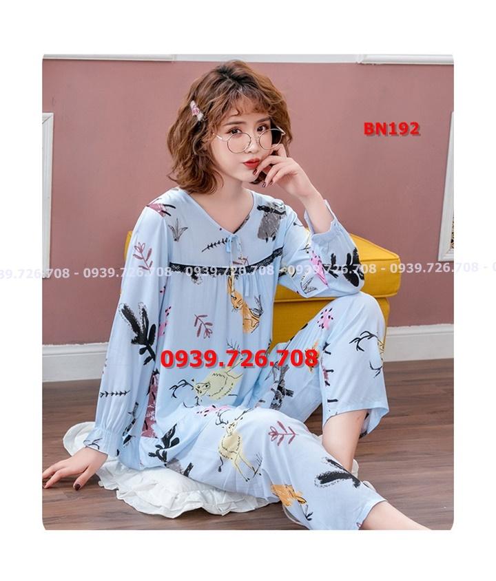 Bộ ngủ pijama cotton lụa phối ren ngực chất mịn mát quần dài tay dài