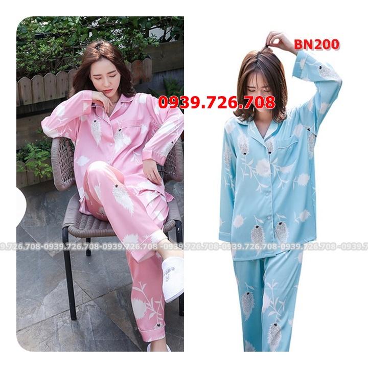Bộ ngủ lụa pijama quần dài tay dài chất đẹp