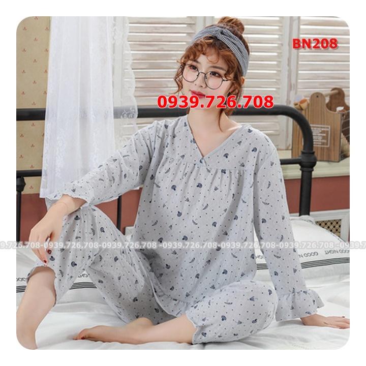 Bộ ngủ cotton đũi quần dài tay dài chất mịn mát