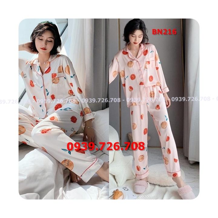 Bộ ngủ pijama lụa satin quần dài tay dài hình trái cam hàng cao cấp