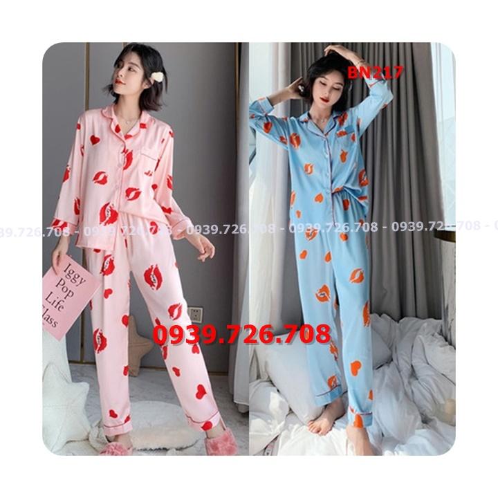 Bộ ngủ pijama lụa satin quần dài tay dài hình cái môi hàng cao cấp
