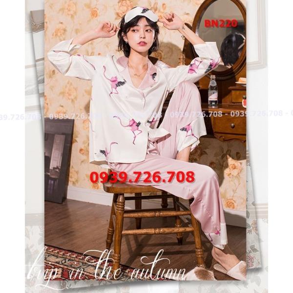 Bộ ngủ pijama lụa satin quần dài tay dài hình con hạc hàng cao cấp siêu đẹp có băng đô