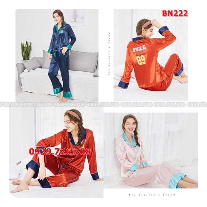Bộ ngủ Pijama lụa quần dài tay dài trơn viền lưng chữ